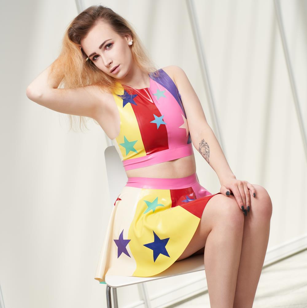Latex set with stars pattern.