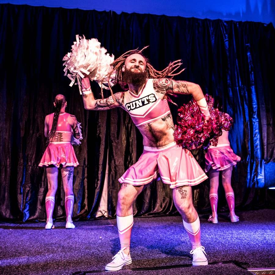 Cheerleader latex uniform during the performance of the Hololatex brand in 2017.