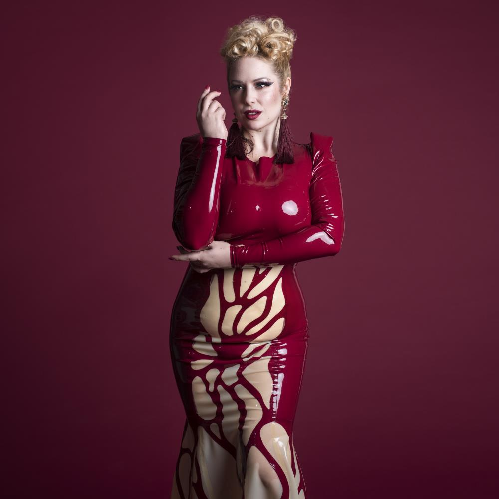 Burgundy latex dress to order with an intricate organic pattern for Angelina Angelic.