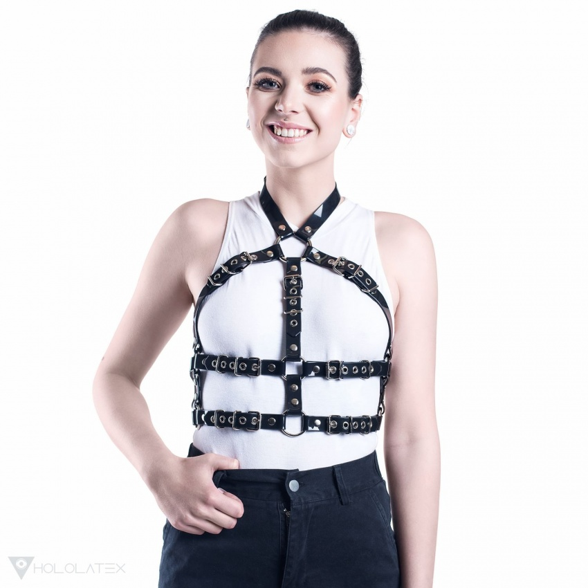 Black PVC fashion harness enclosing the entire body - front view.