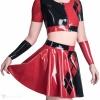 Latexový červeno černý komplet sukně a topu - detail.
