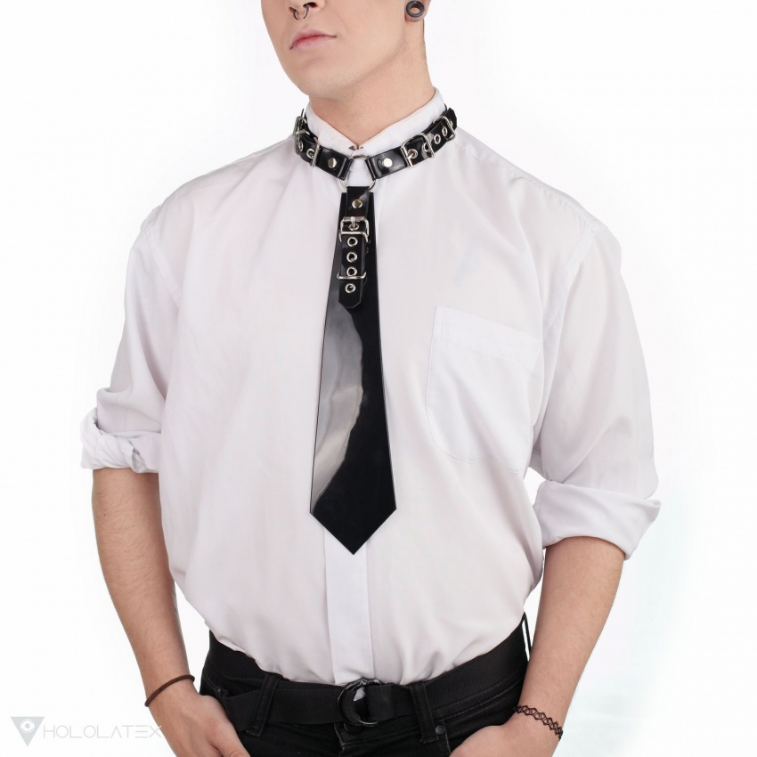 A black neck tie from PVC with fastening via buckles