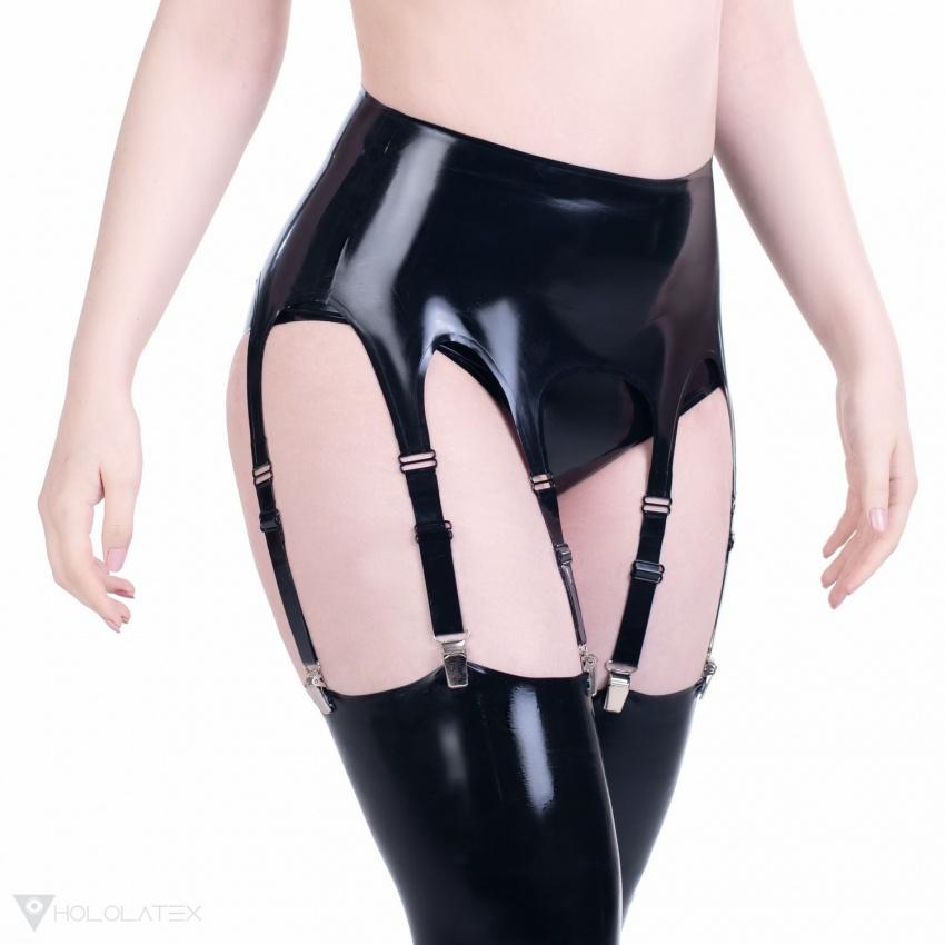 Černý latexový podvazkový pás s osmi závěsy.