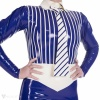 The décolleté of the dress is decorated with stripes. Strong shaped belt divides dress visually.