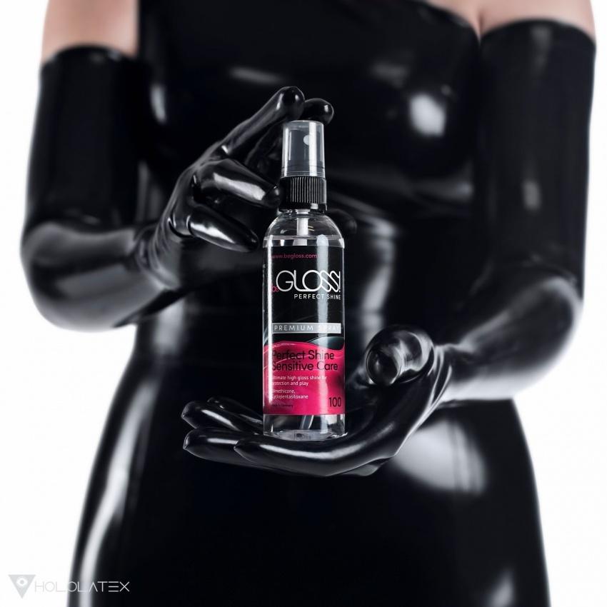 beGLOSS Perfect Shine Premium - Latex Poliermittel in einer 100ml Sprühflasche.