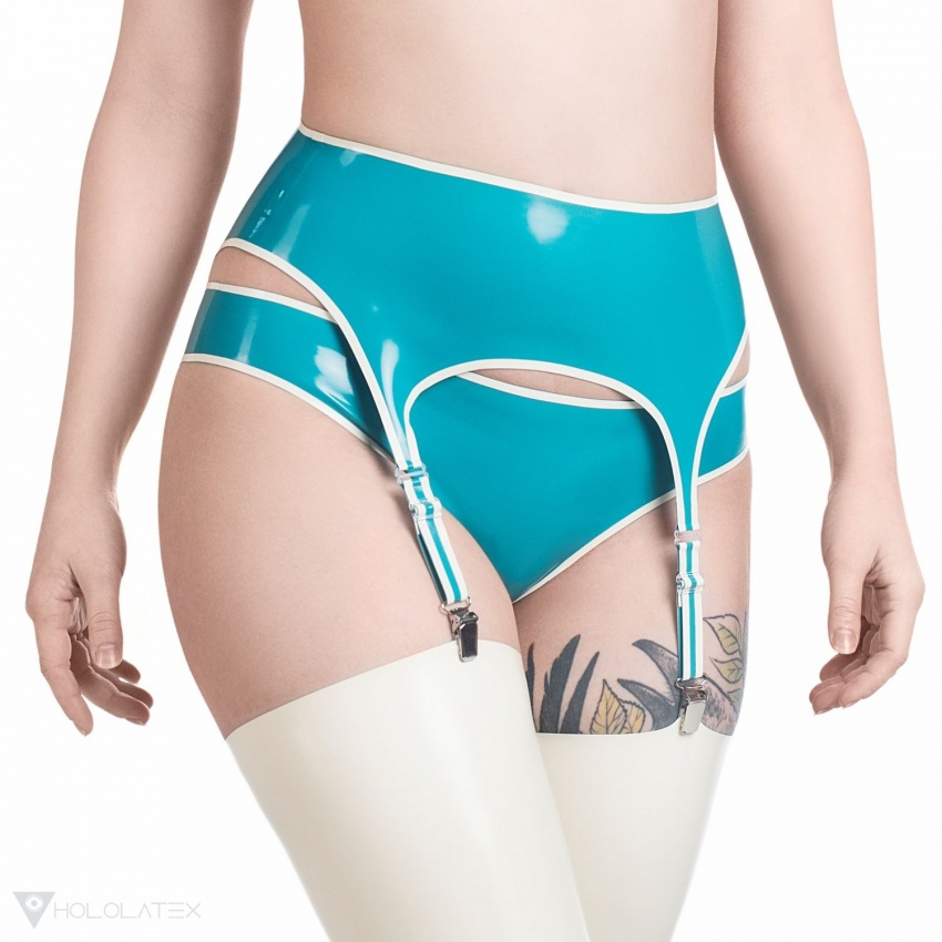 A latex suspender belt in turquoise, with a white contrast stripe.