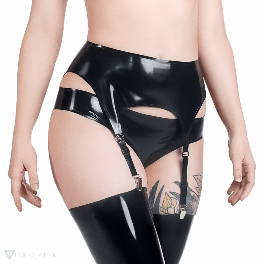 A black latex garter belt with reinforced edges and four garter straps for fastening stockings.