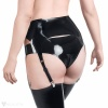 View of the back - a latex suspender belt in black with reinforced edges and four garter straps.