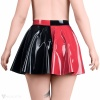 Both colours are on the latex skirt as opposite, contrasting one to the other.