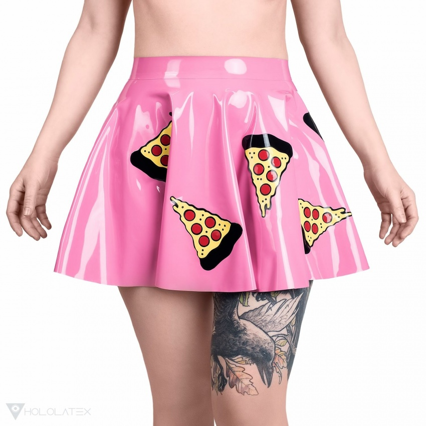 Circle latex skirt with motif of freely placed slices of pizza. Shown from front..