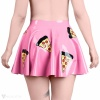 View from the back. The slices of the pizza are all over the skirt.