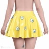 A yellow latex skirt with a comic eye design - view of the back.