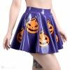 Latexová kolová sukně ve fialové barvě s motivem halloweenských dýní - pohled z boku.