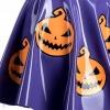 Detail výlepu dýní na latexové fialové sukni.