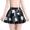 Černá latexová sukně se vzorem duchů - pohled zezadu.