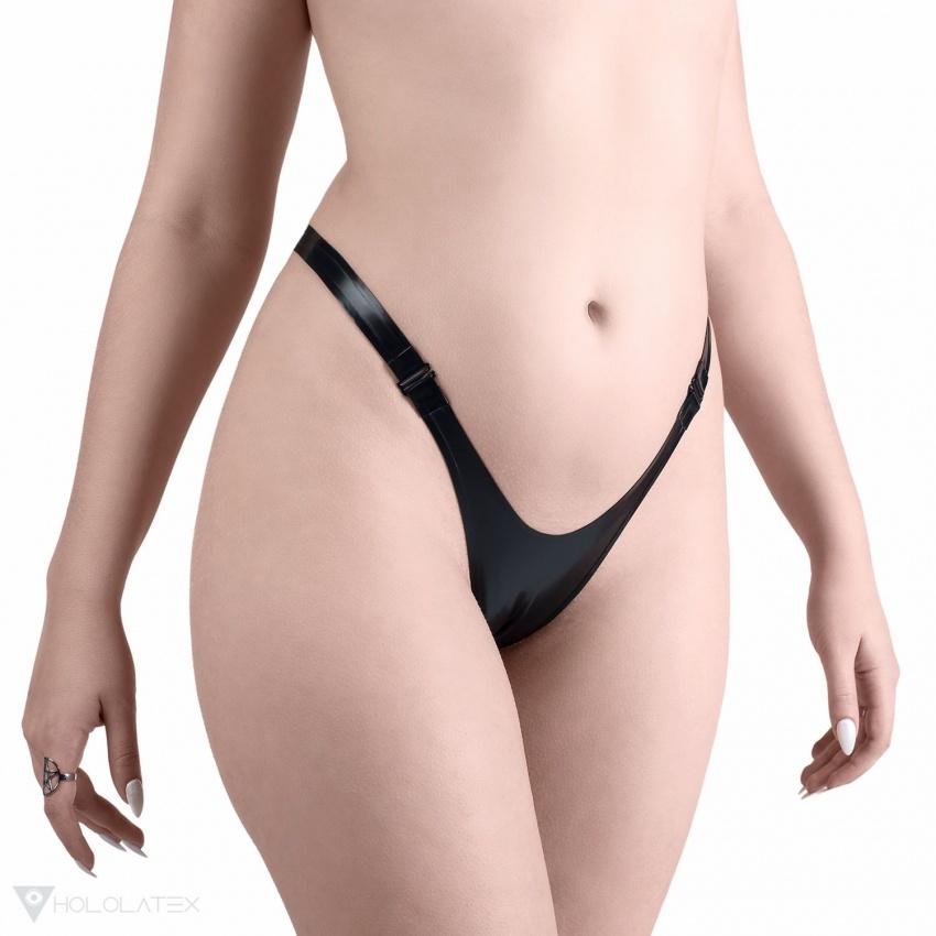 Černé latexové kalhotky G-string jednoduchého designu, se zapínáním vpředu na dva háčky.