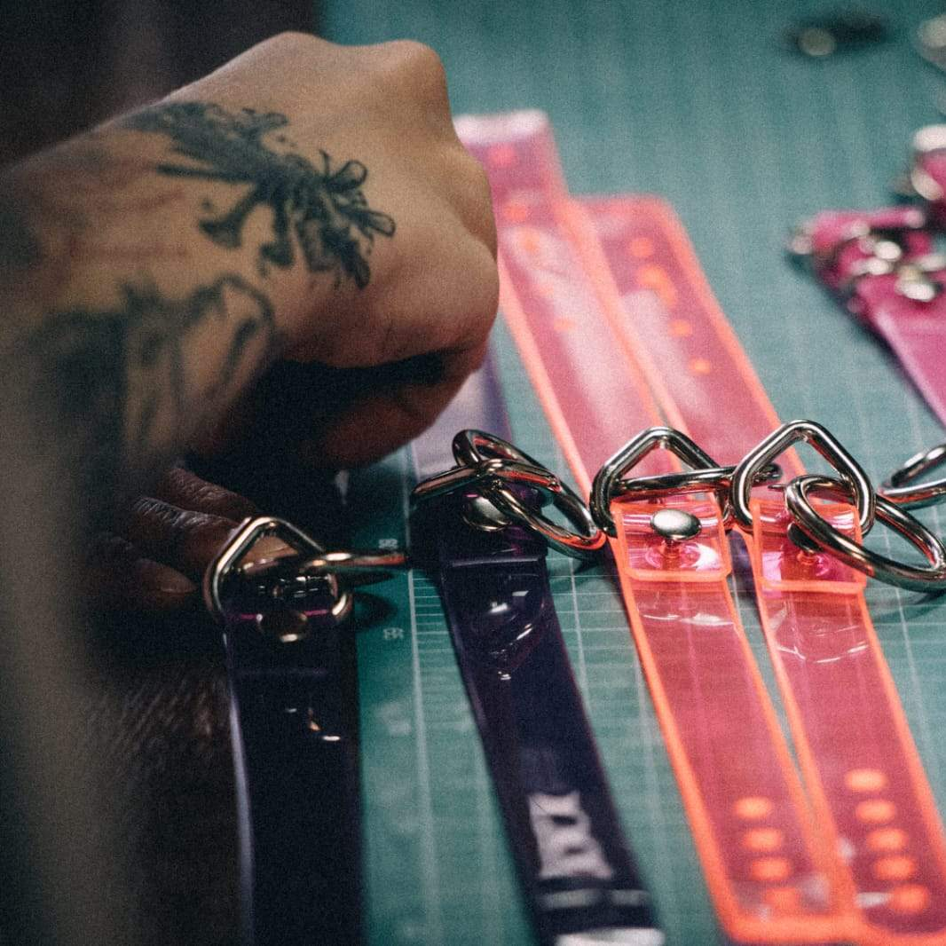 Colourfull chokers in making.