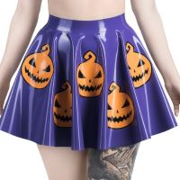Latex circle skirt with halloween applications in violet colour.