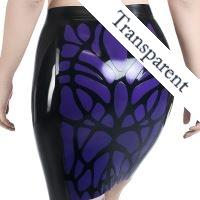 Sheath skirt with organic pattern made of transparent violet latex.