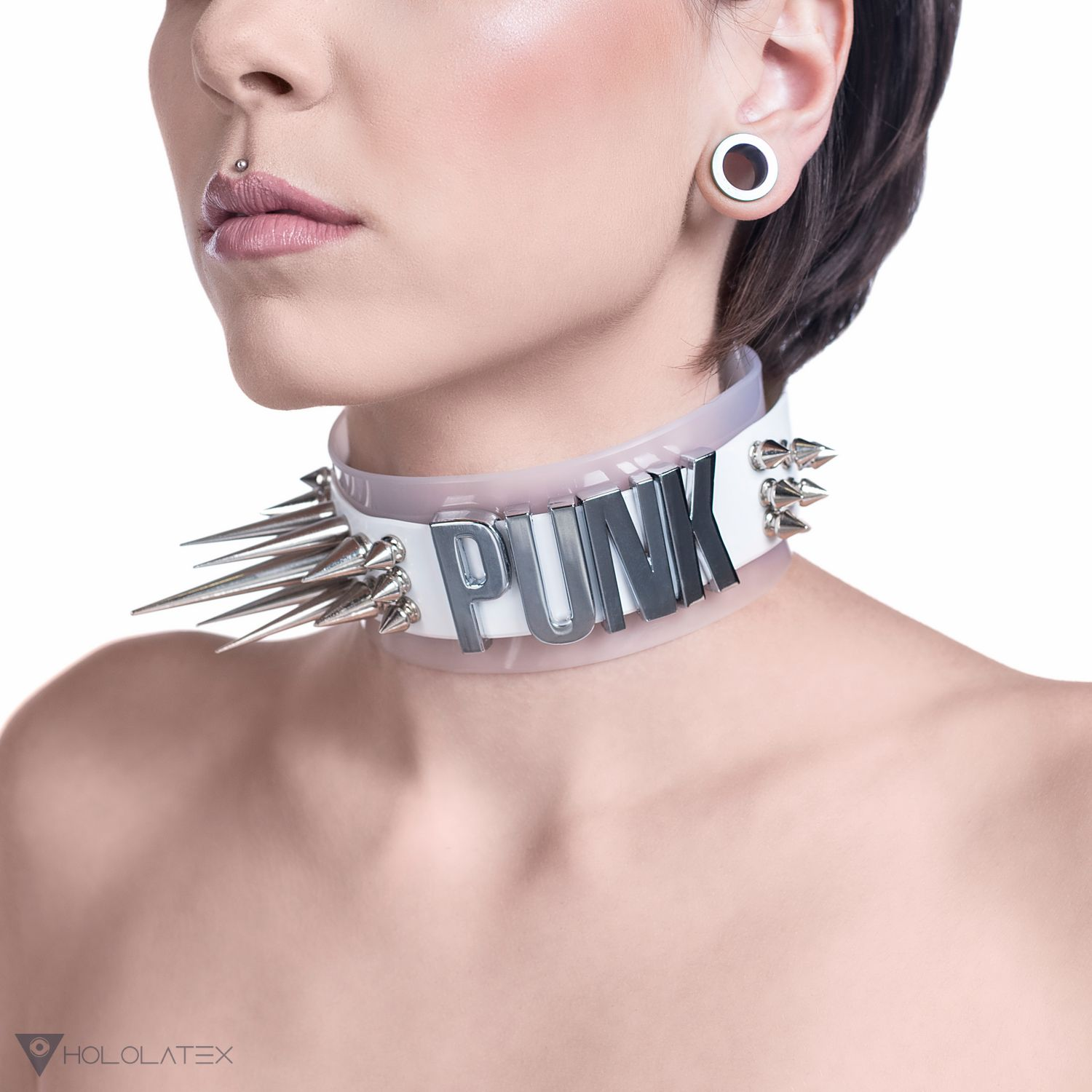 White and semi-transparent white extravagant PVC neck choker with lots of spikes and the word PUNK.